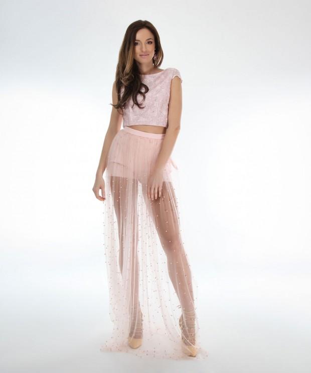 fusta lunga roz