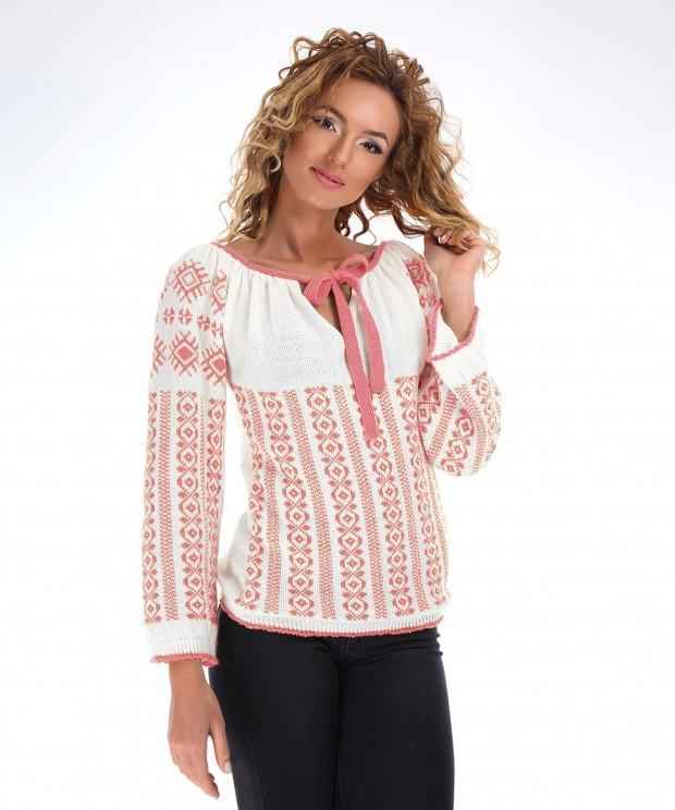 ie tricotata cu model roz
