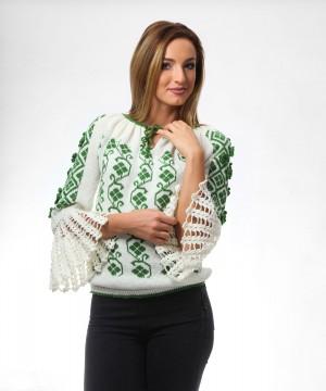 ie tricotata cu model floral verde