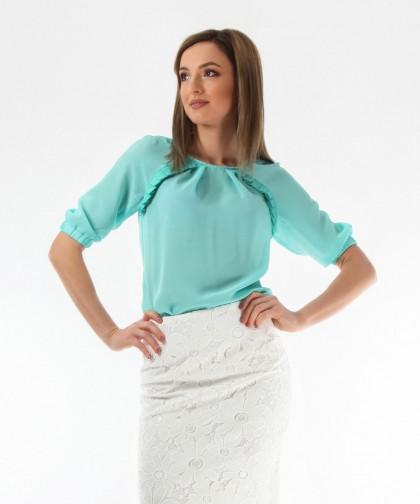 bluza turcoaz din voal