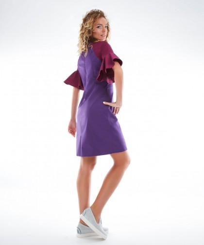 rochie violet cu volane