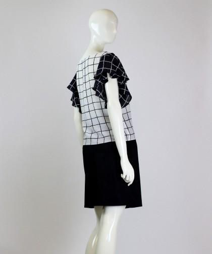 bluza alb-negru din matase
