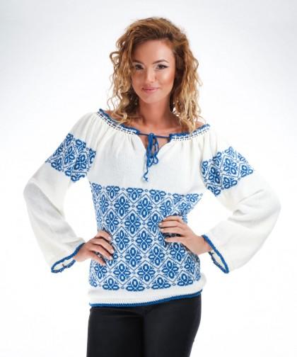 ie tricotata cu model albastru 02