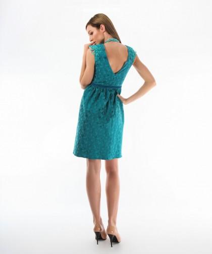 rochie turcoaz din brocard