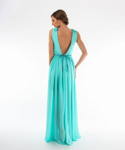 rochie de seara din voal turcoaz