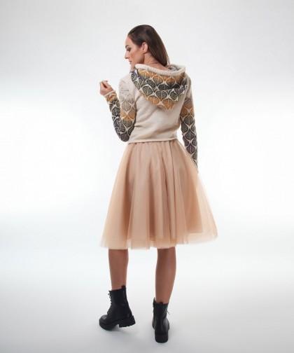 pulover tricotat creamy cu gluga