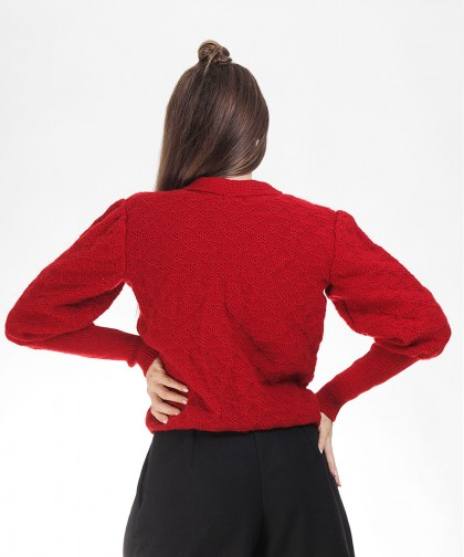 cardigan tricotat red