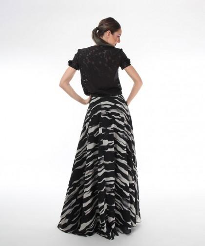 fusta lunga din voal zebra print