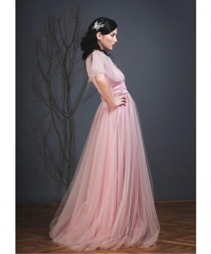 fusta tulle dusty pink