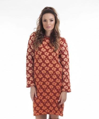 rochie tricotata cu model floral