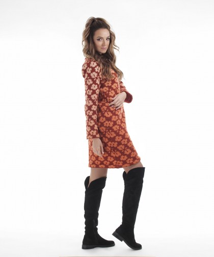 rochie caramizie cu model floral