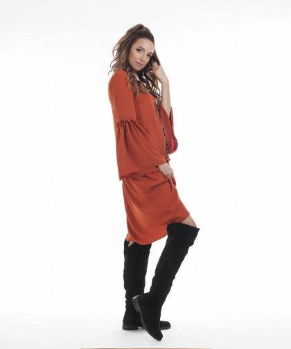 rochie caramizie din vascoza