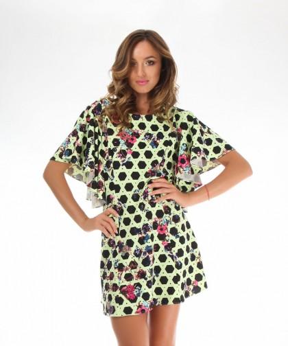 rochie galbena cu imprimeu