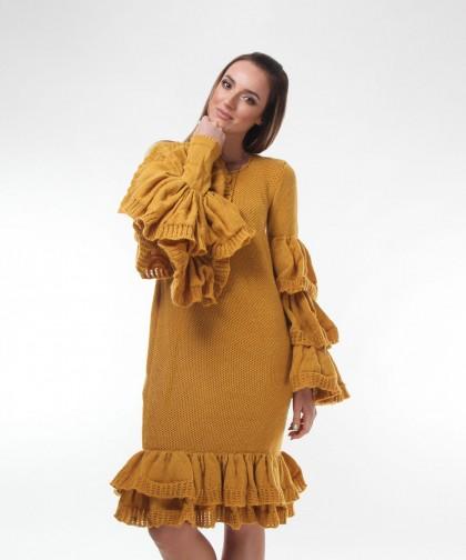 rochie tricotata galbena
