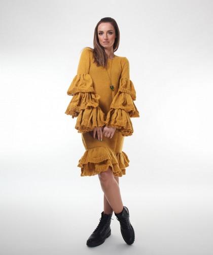 rochie tricotata cu maneci ample