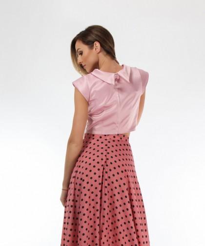 top elegant din tafta roz pudra