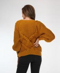 pulover galben mustar tricotat
