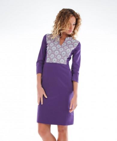 rochie violet cu buzunare