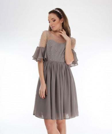 rochie gri de seara