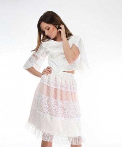 fusta white lace