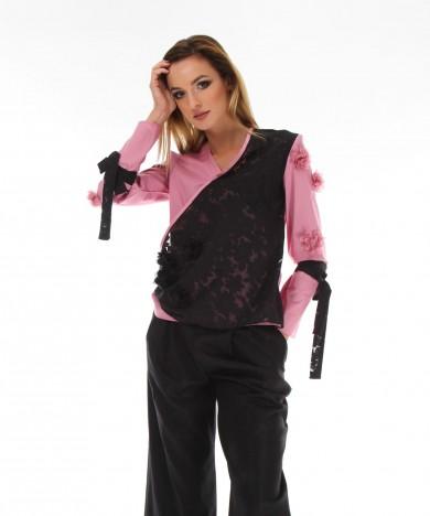 bluza suprapusa roz si negru