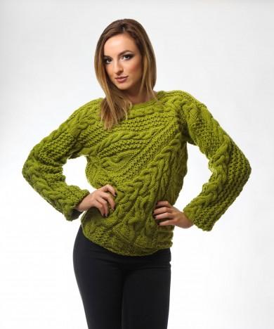 pulover pistachio tricotat manual