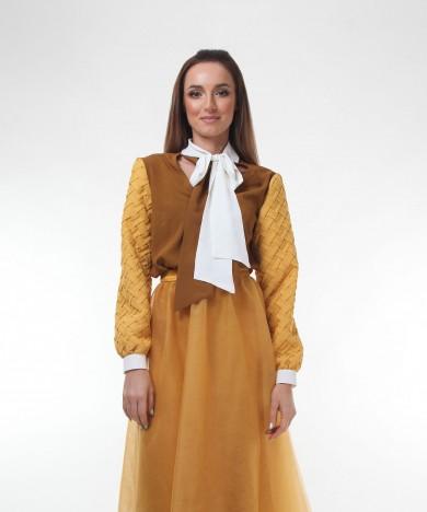 bluza cu guler funda dark almond