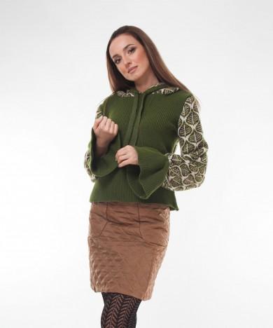 pulover tricotat verde cu gluga