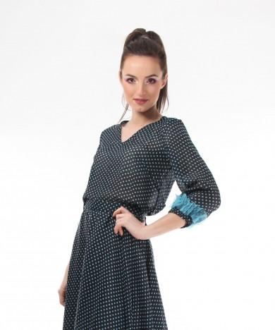 bluza turquoise polka dots