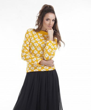 pulover galben tricotat cu flori