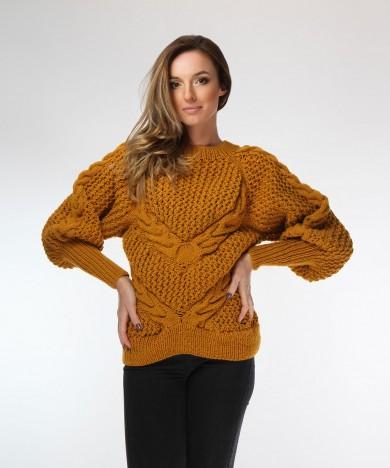 pulover galben mustar cu opturi