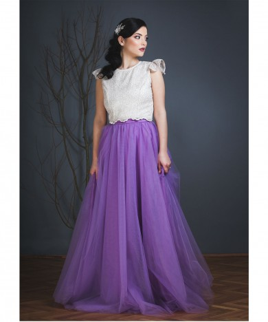 fusta tulle violet