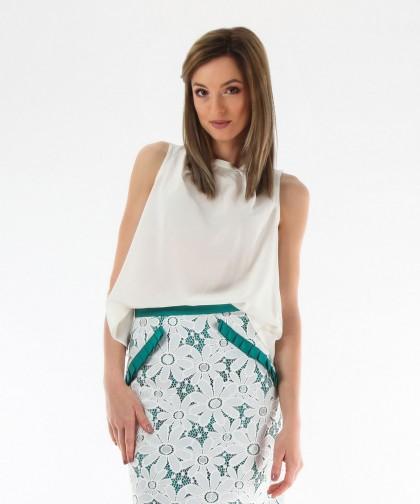 fusta verde turcoaz cu flori albe