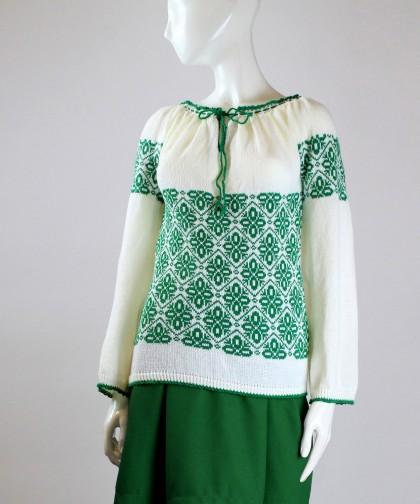 ie tricotata cu model verde smarald 02