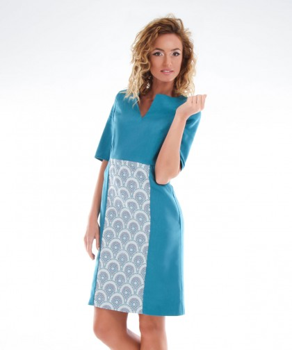 rochie turcoaz cu buzunare