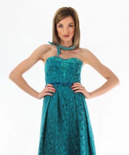 rochie turcoaz cu corset