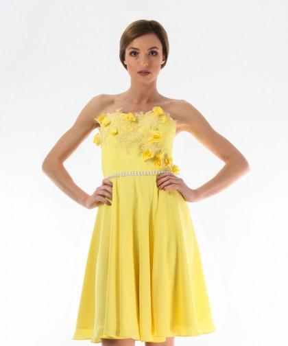 rochie galbena de seara cu corset