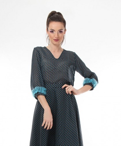 fusta turquoise polka dots