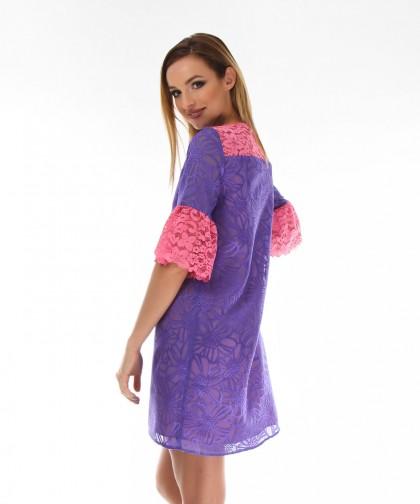 rochie violet cu model floral
