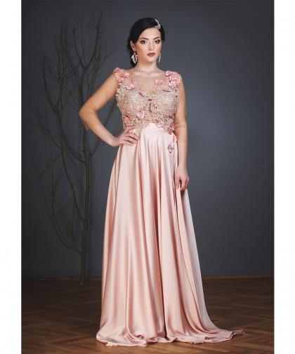 rochie de seara pink pude somon flowers