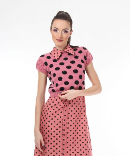 top tricotat polka dots